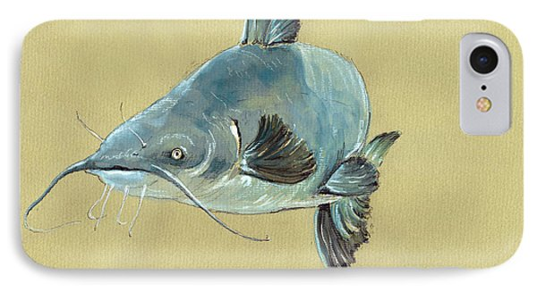 Channel Catfish Fish Animal Watercolor Painting IPhone 7 Case by Juan  Bosco