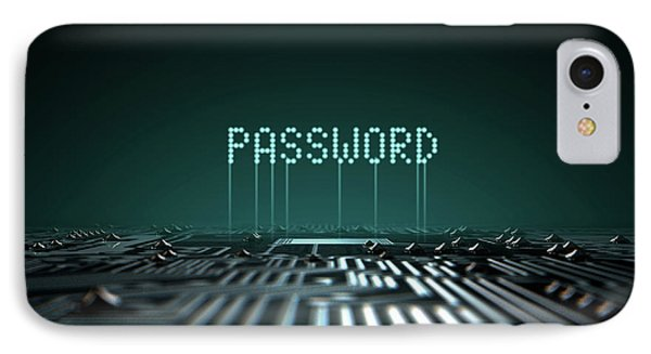 Circuit Board Projecting Password IPhone Case by Allan Swart
