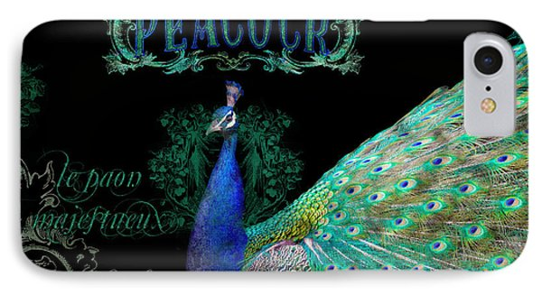 Elegant Peacock W Vintage Scrolls  IPhone 7 Case by Audrey Jeanne Roberts