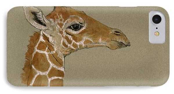 Giraffe Head Study  IPhone Case by Juan  Bosco