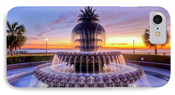 Pineapple Fountain Charleston Sc Sunrise IPhone Case by Dustin K Ryan