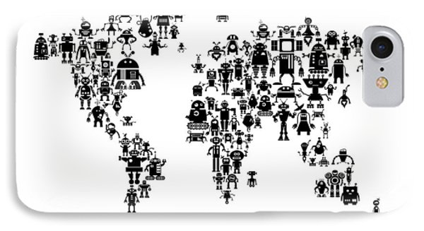 Robot Map Of The World Map IPhone Case by Michael Tompsett