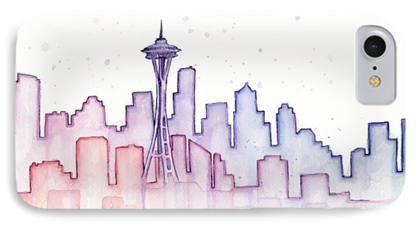 Seattle Skyline Watercolor IPhone Case by Olga Shvartsur