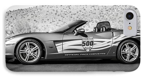 2007 Chevrolet Corvette Indy Pace Car -0003bw2 IPhone Case by Jill Reger