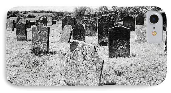17th And 18th Century Headstones In Tydavnet Old Cemetery County Monaghan Republic Of Ireland IPhone Case by Joe Fox