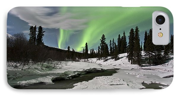 Aurora Borealis Over Creek, Yukon Phone Case by Jonathan Tucker