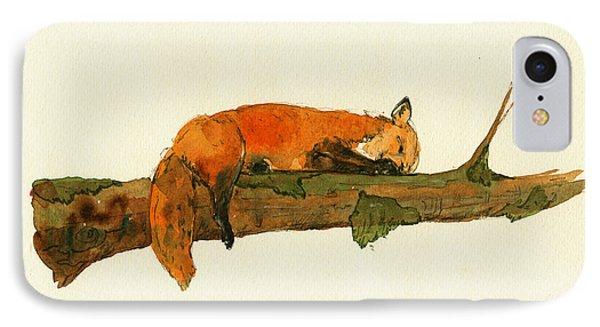 Fox Sleeping Painting IPhone 7 Case by Juan  Bosco