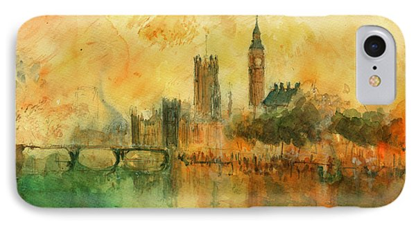 London Watercolor Painting IPhone Case by Juan  Bosco