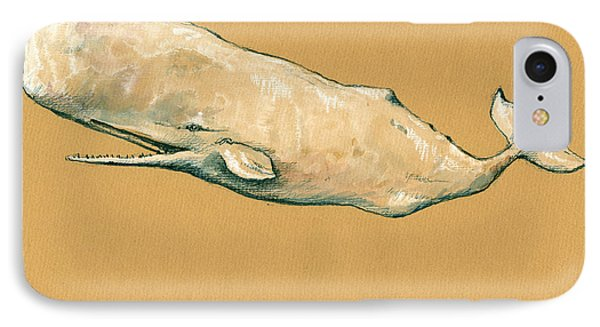 Moby Dick The White Sperm Whale  IPhone 7 Case by Juan  Bosco