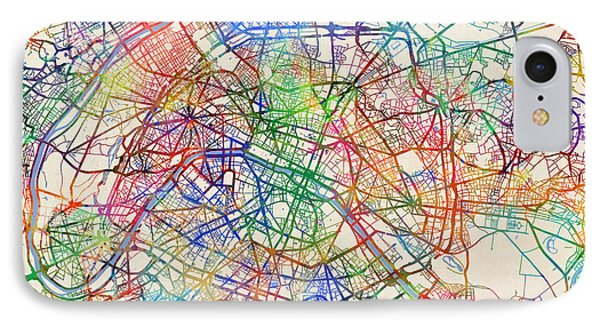 Paris France Street Map IPhone Case by Michael Tompsett