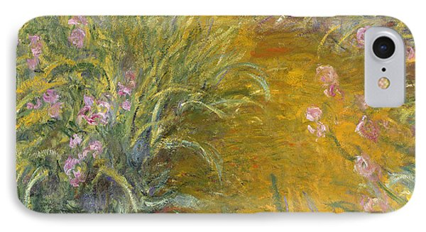 The Path Through The Irises IPhone Case by Claude Monet