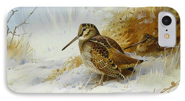 Winter Woodcock IPhone Case by Archibald Thorburn