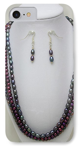 3562 Triple Strand Freshwater Pearl Necklace Set Phone Case by Teresa Mucha