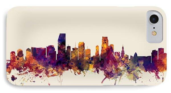 Miami Florida Skyline IPhone 7 Case by Michael Tompsett