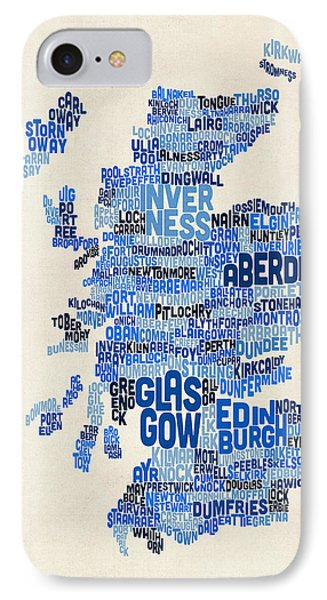 Scotland Typography Text Map IPhone Case by Michael Tompsett