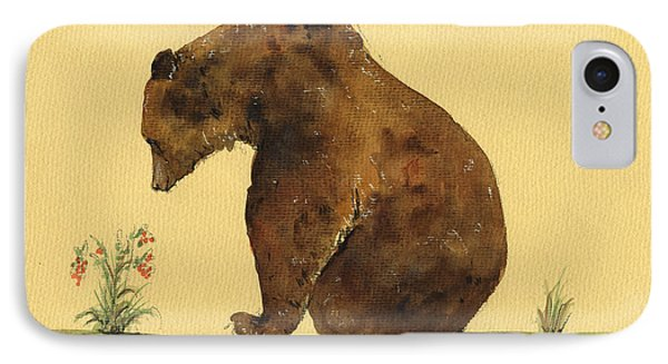 Grizzly Bear Watercolor Painting IPhone 7 Case by Juan  Bosco