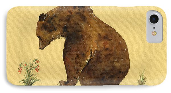 Grizzly Bear Watercolor Painting IPhone Case by Juan  Bosco