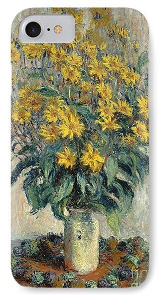 Jerusalem Artichoke Flowers IPhone 7 Case by Claude Monet