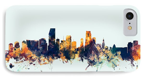 Miami Florida Skyline IPhone Case by Michael Tompsett