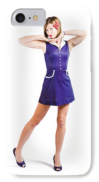 50s Pin-up Girl In Retro Purple Polka Dot Dress IPhone Case by Jorgo Photography - Wall Art Gallery