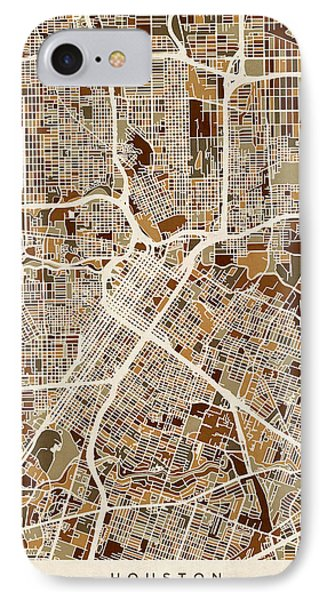 Houston Texas City Street Map IPhone Case by Michael Tompsett