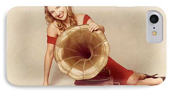 60s Pin Up Girl With Vintage Record Phonograph IPhone Case by Jorgo Photography - Wall Art Gallery