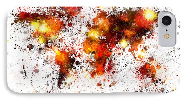 World Map Paint Splashes IPhone Case by Michael Tompsett