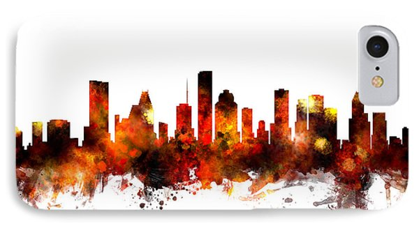Houston Texas Skyline IPhone Case by Michael Tompsett