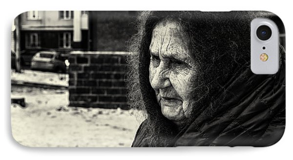 85 Year Old Russian Woman Street Portrait IPhone Case by John Williams