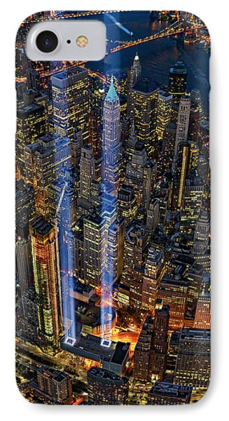 911 Nyc Tribute In Light IPhone Case by Susan Candelario
