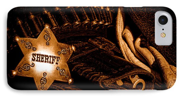 A Badge And A Weapon - Sepia IPhone Case by Olivier Le Queinec