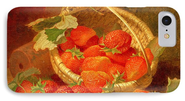 A Basket Of Strawberries On A Stone Ledge Phone Case by Eloise Harriet Stannard