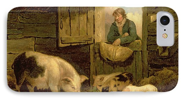 A Boy Looking Into A Pig Sty IPhone Case by George Morland
