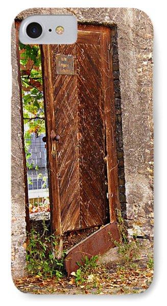 A Broken Door In Mainz IPhone Case by Sarah Loft