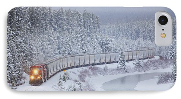 A Canadian Pacific Train Travels Along IPhone Case by Chris Bolin