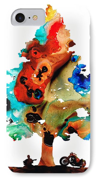 A Certain Kind Of Freedom - Guitar Motorcycle Art Print IPhone 7 Case by Sharon Cummings
