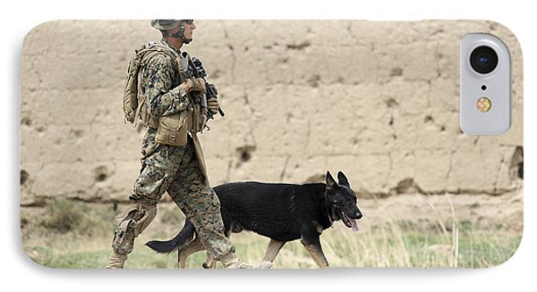 A Dog Handler Of The U.s. Marine Corps Phone Case by Stocktrek Images