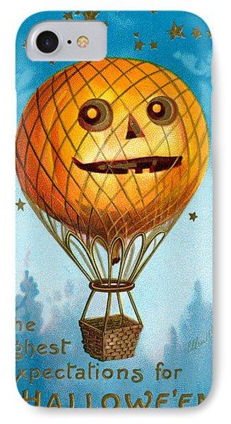 A Halloween Pumpkin Hot Air Balloon IPhone Case by Ellen Hattie Clapsaddle