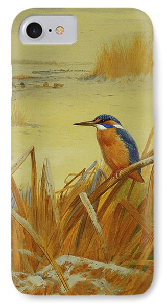 A Kingfisher Amongst Reeds In Winter IPhone 7 Case by Archibald Thorburn
