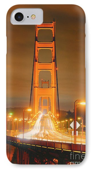 A Night View Of The Golden Gate Bridge From Vista Point In Marin County - Sausalito California IPhone Case by Silvio Ligutti
