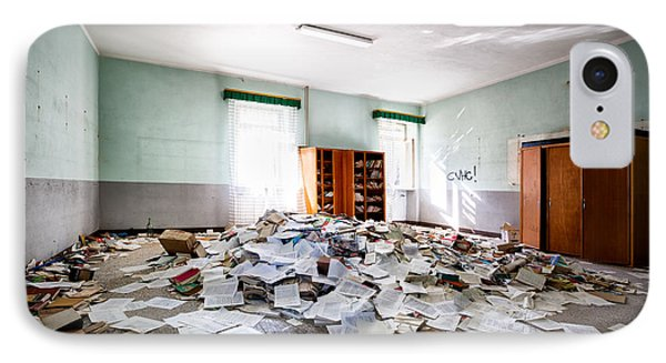 A Pile Of Knowledge - Abandoned School Building IPhone Case by Dirk Ercken