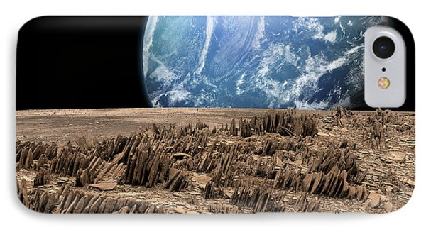 A Rover Explores A Rocky, Barren Moon IPhone Case by Marc Ward
