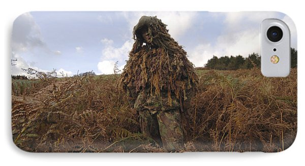 A Sniper Dressed In A Ghillie Suit Phone Case by Andrew Chittock