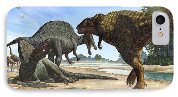 A Spinosaurus Blocks The Path Phone Case by Sergey Krasovskiy