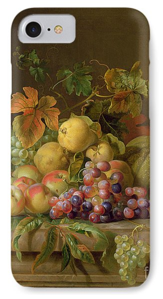 A Still Life Of Melons Grapes And Peaches On A Ledge IPhone Case by Jakob Bogdani