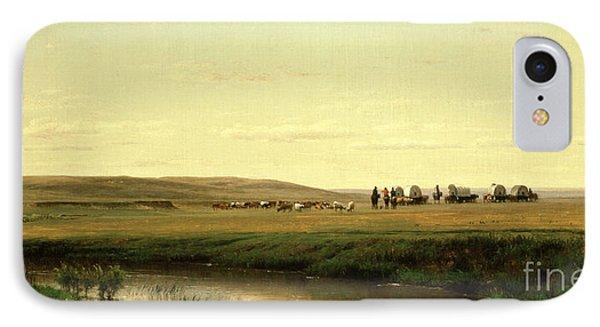 A Wagon Train On The Plains IPhone Case by Thomas Worthington Whittredge