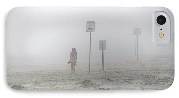 A Walk On A Foggy Beach IPhone Case by Bill Cannon