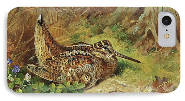 A Woodcock And Chicks IPhone Case by Archibald Thorburn