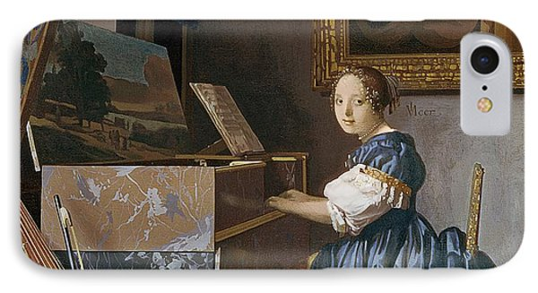 A Young Lady Seated At A Virginal IPhone Case by Jan Vermeer
