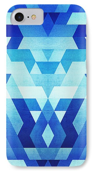 Abstract Geometric Triangle Pattern Futuristic Future Symmetry In Ice Blue IPhone Case by Philipp Rietz